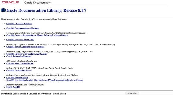 Oracle Documentation 8.1.7