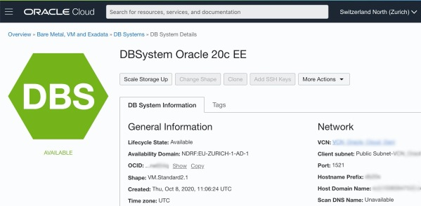 DBSystem Oracle 20c