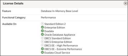 In-Memory Base Level License Details